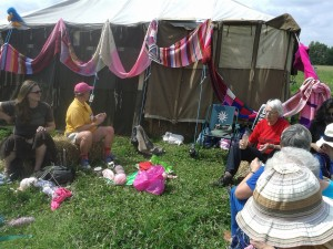 Knitting at the Peace News Camp, Suffolk