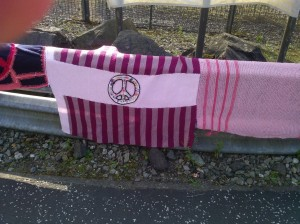 Section of the Scottish Wool Against Weapons Peace scarf at the North Gate Faslane Naval Base 20.09.14.