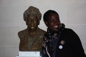 Marie-Lyse Numuhoza with newly unveiled statue of WILPF founder, Aletta Jacobs. Centenary Congress, 1915